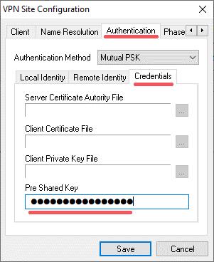 Pre Shared Key Konfiguration des Shrew VPN Client