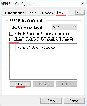 Policy Konfiguration des Shrew VPN Client