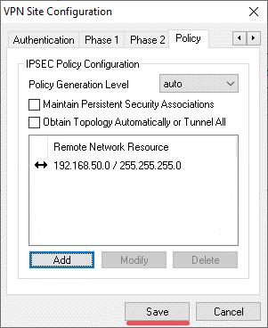 Save Konfiguration des Shrew VPN Client